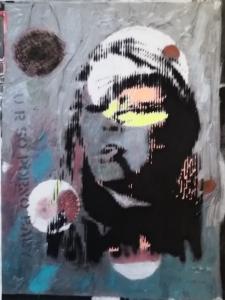 Street Art Berlin, acrylic on canvas, 19 x 25