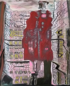 "New version, ""Red Coat,""  21 x 17, acrylic on canvas"