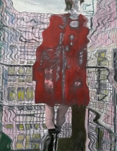 Red Coat, old version, acrylic on canvas