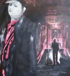 School Days (Corridor), acrylic on canvas), 34 x 37